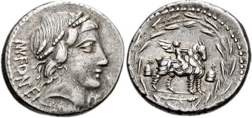 Roman Republic, 71 BC, AR denarius - Manius Aquillius